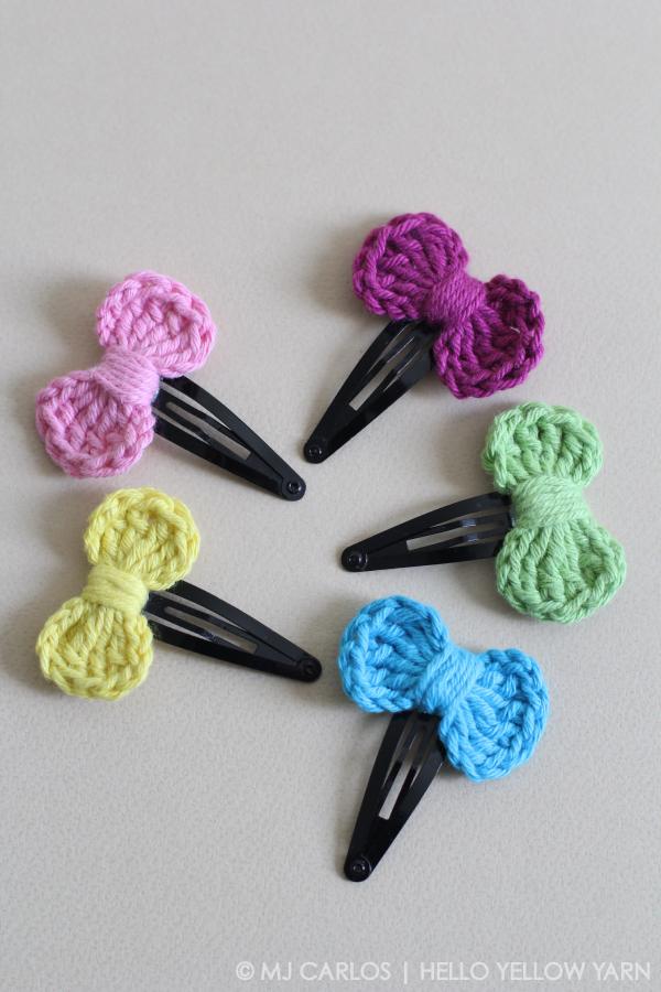 How To Make A Mini Crocheted Bow Hair Clip
