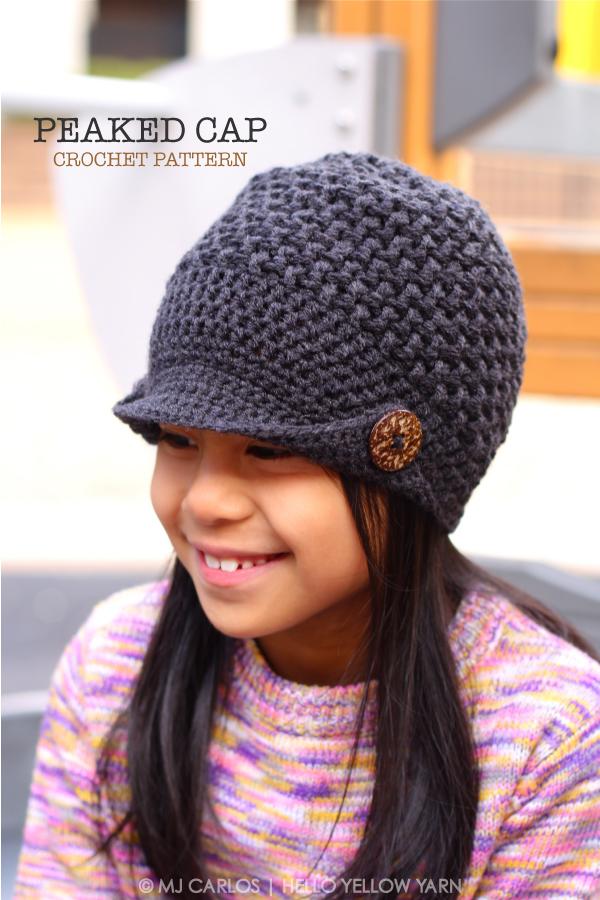 Crochet Peaked Cap Free Pattern